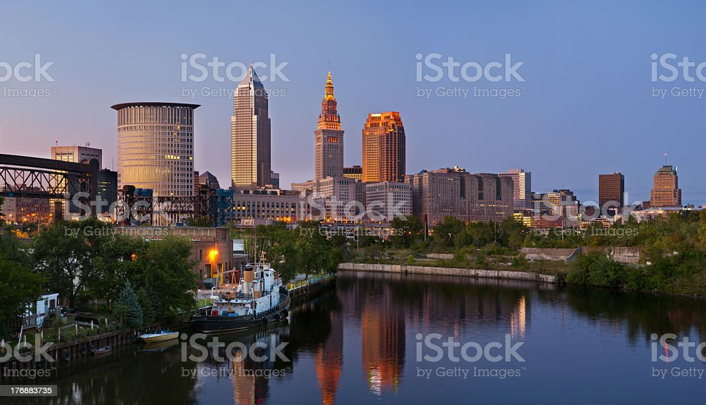 View above the river on Cleveland city stock photo