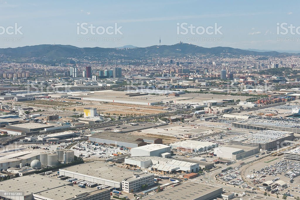View above Zona Franca - the industrial port of Barcelona stock photo