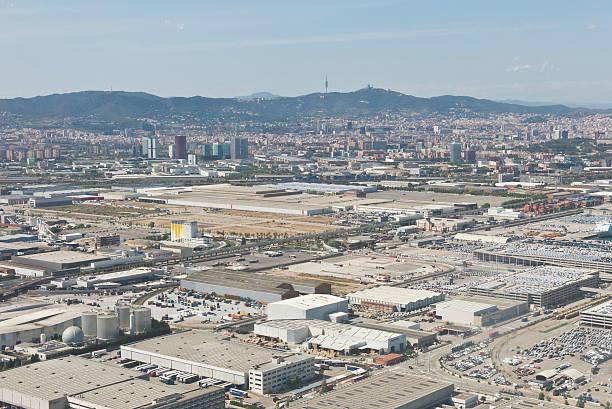 view above zona franca - the industrial port of barcelona - industriegebied stockfoto's en -beelden