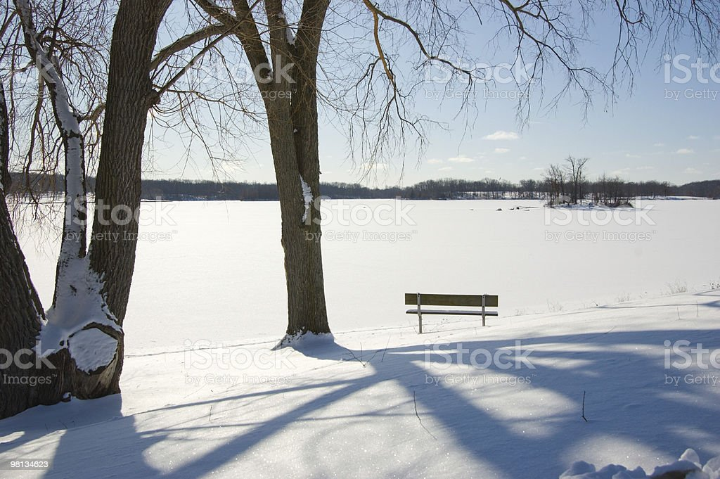 View Across a Frozen Snow Covered Lake royalty-free stock photo
