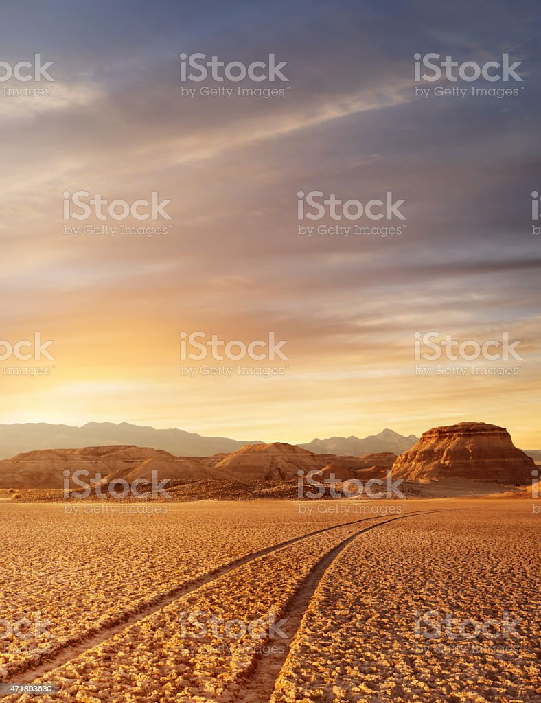 A view across Death Valley in a low sunlight stock photo