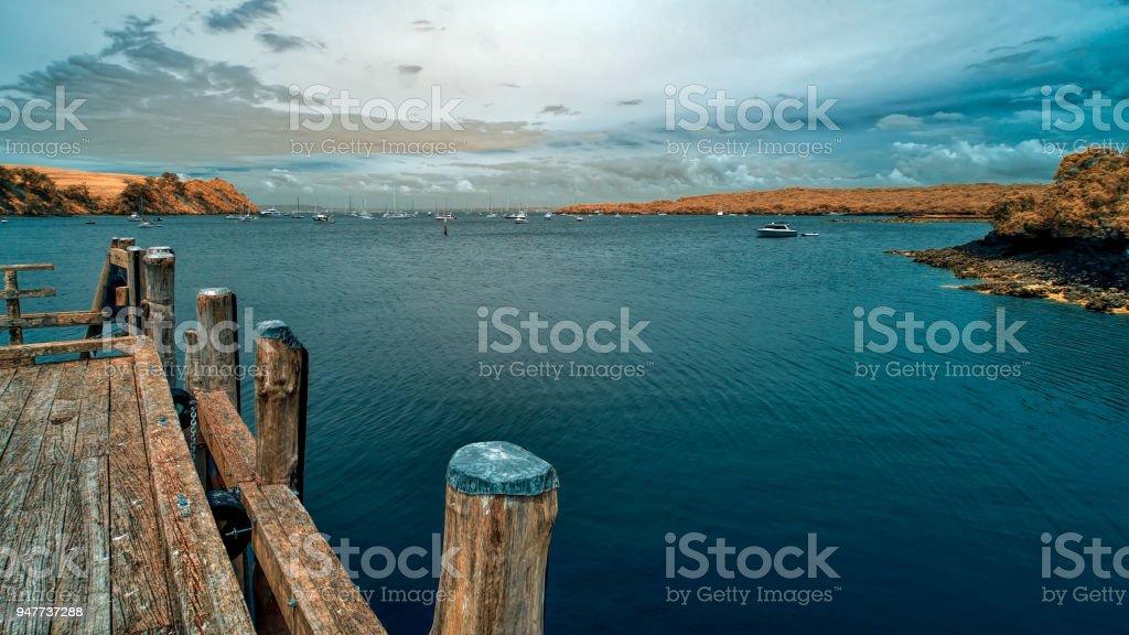 View across Islington Bay from a wharf in Rangitoto island stock photo
