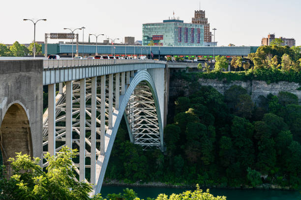 A view across Niagara Falls International Rainbow Bridge A bridge crossing from Canada to USA by means of drive or walk. rainbow bridge ontario stock pictures, royalty-free photos & images