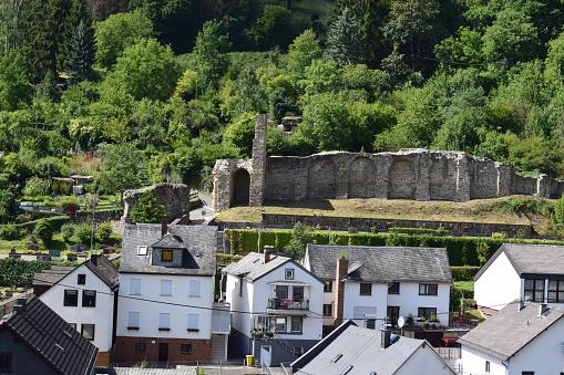 view across small fortified town Dausenau
