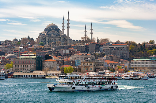 Istanbul. Turkey. 04.03.06. View across the Bosporus from Asia to the European side, to the Sultanahmet or Golden Horn district and the Suleymaniye Mosque, Istanbul, Turkey.