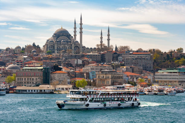 View across the Bosporus from Asia to the European side - Istanbul - Turkey stock photo
