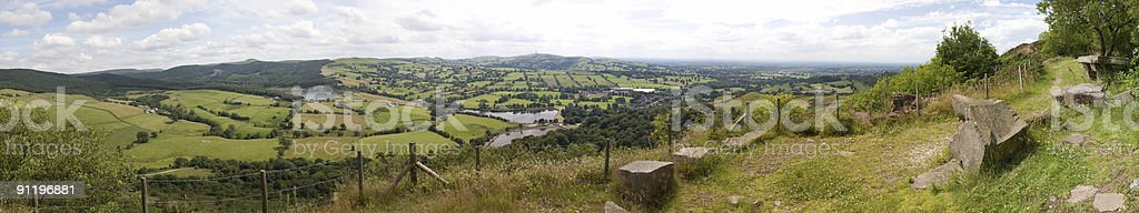 View across the Cheshire Plains from Teggs Nose stock photo