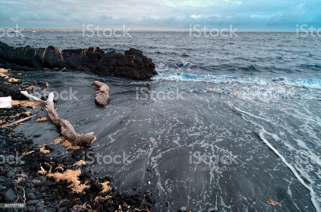 View across the Hauraki Bay from Mckenzie Bay in Rangitoto island stock photo
