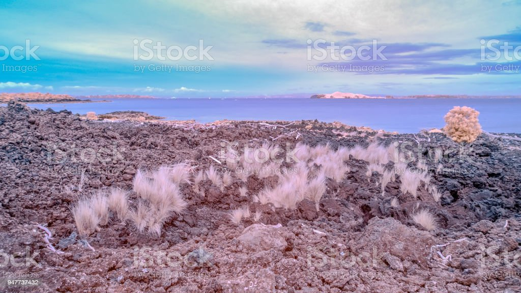 View across the Hauraki gulf from Rangitoto Island stock photo