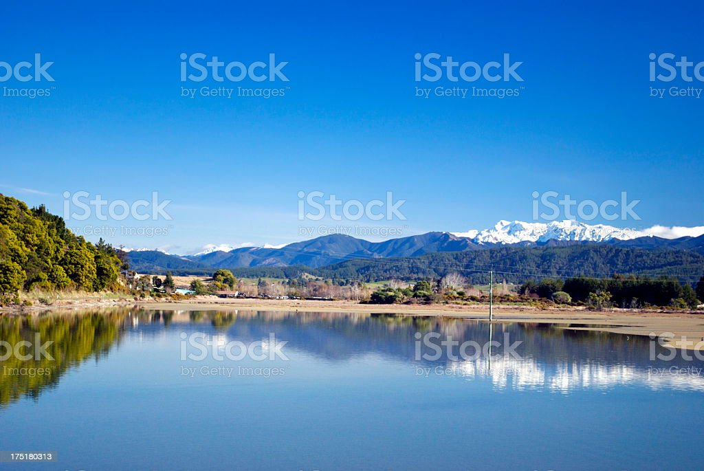 View across the Motueka Estuary, Tasman Region, New Zealand stock photo
