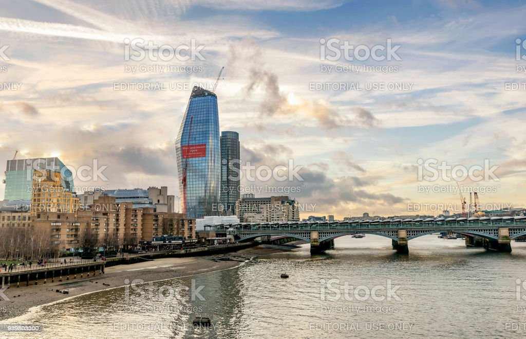 A view across the River Thames of financial skyscrapers of London,UK stock photo