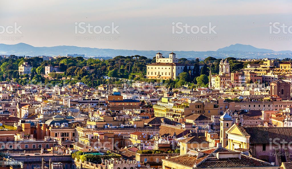 View across the rooftops of Rome stock photo