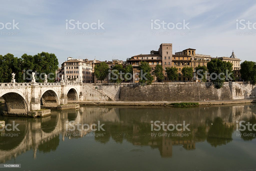 View across the Tiber River in Rome royalty-free stock photo