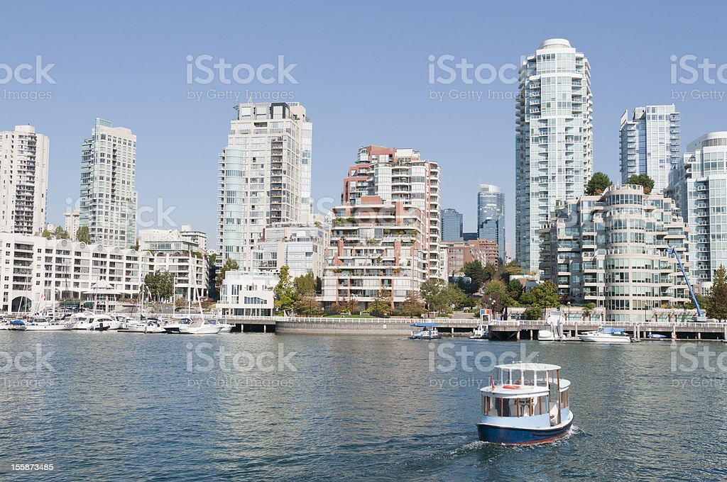 View across the water of Vancouver City from Granville Island stock photo
