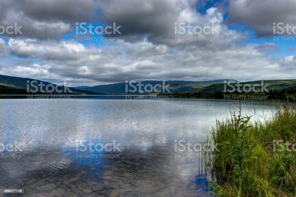 View across Wonder Lake in Denali National Park in Alaska United stock photo