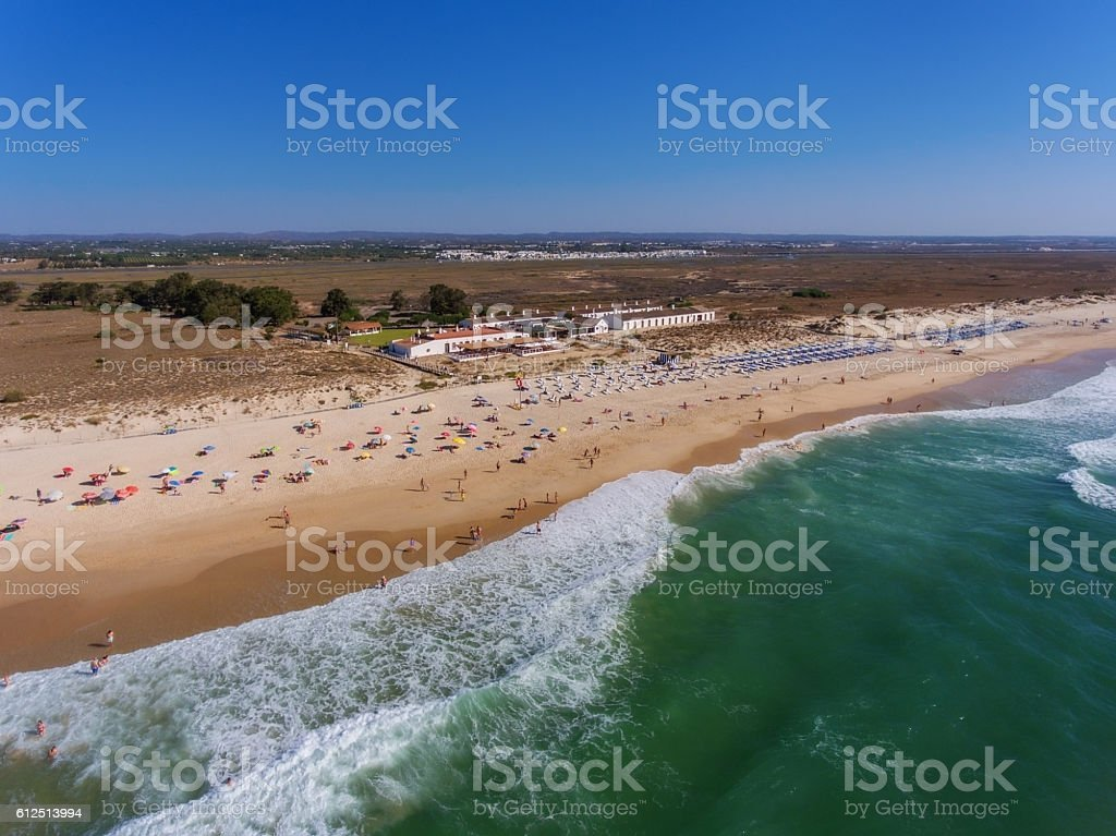 View aerial Portuguese beach cemetery anchors. stock photo