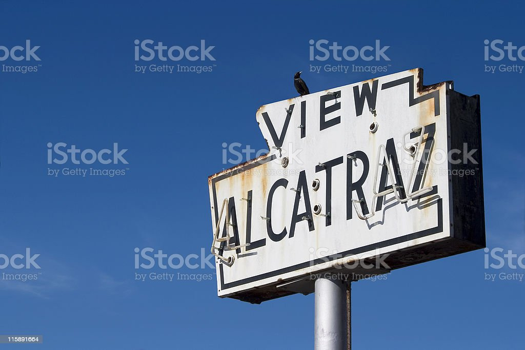 View Alcatraz sign on a blue background royalty-free stock photo