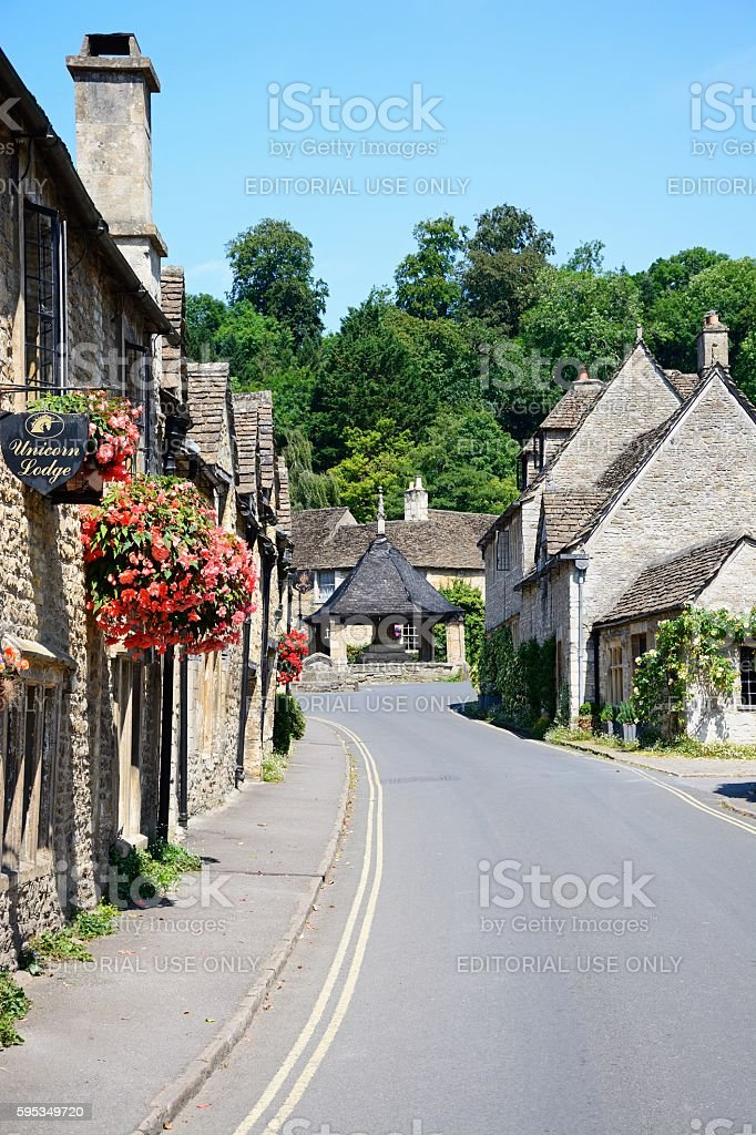 View along a village street, Castle Combe. stock photo