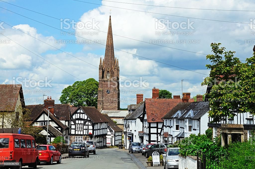 View along Broad Street, Weobley. stock photo