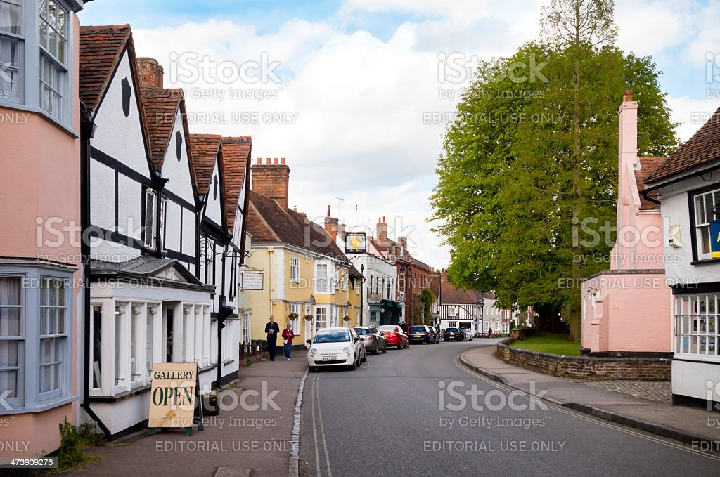 View along Dedham High Street, Essex, England stock photo