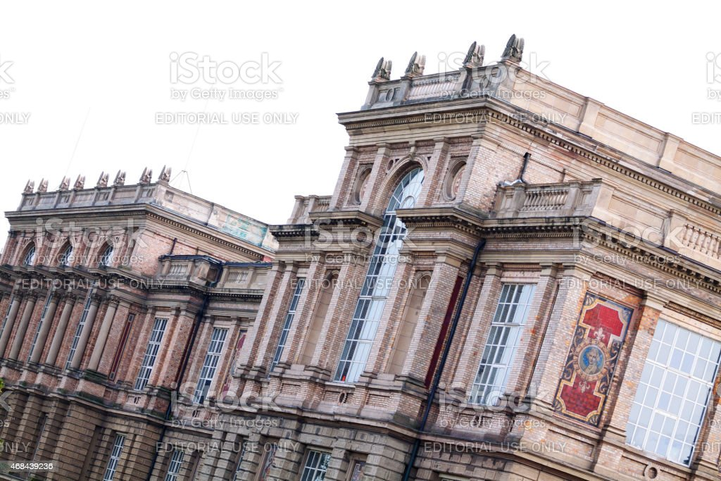 View along expressionistic building Ehrenhof stock photo