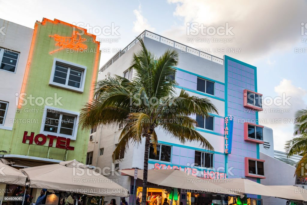 View along Ocean Drive along South Beach Miami in the historic Art Deco District stock photo