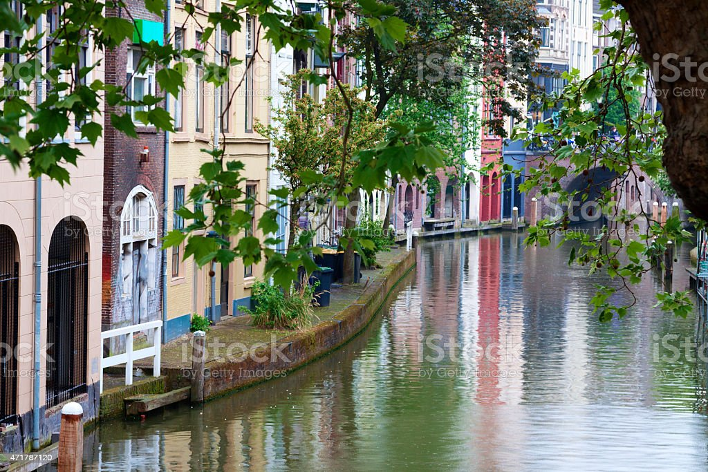 Oudegracht Blick auf den Kanal in Utrecht der Niederlande – Foto