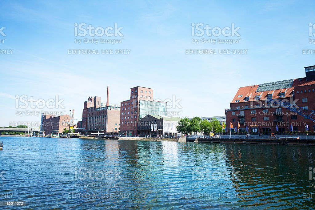 View along promenade and restored buildings stock photo