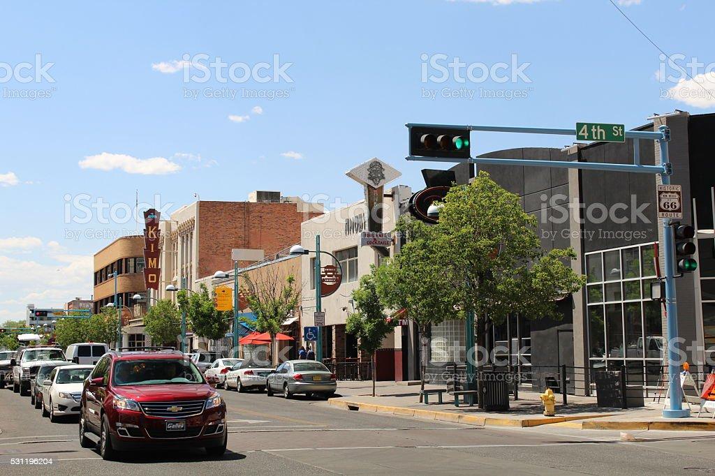 View along Route 66 in Albuquerque stock photo