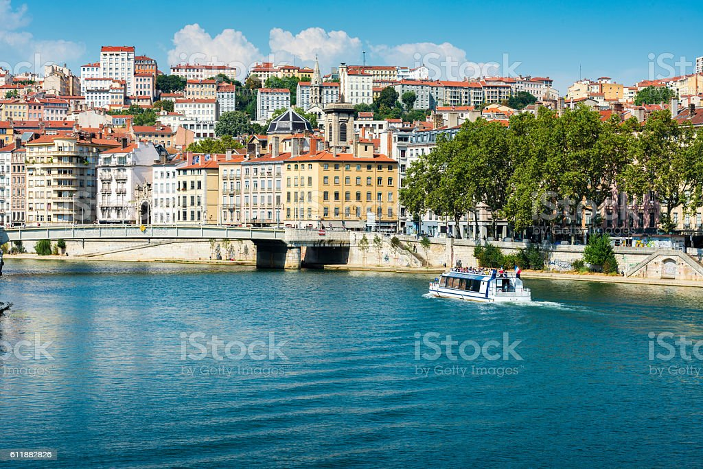 view along Saone River in Lyon stock photo