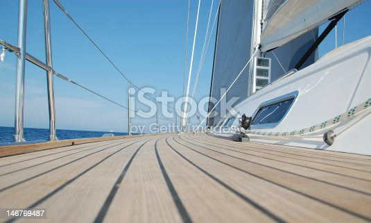 View along teak deck on a sailboat