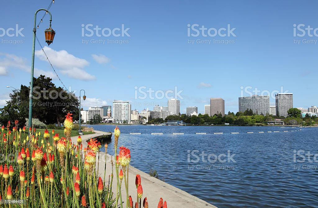 View along the banks of Lake Merritt in Oakland royalty-free stock photo
