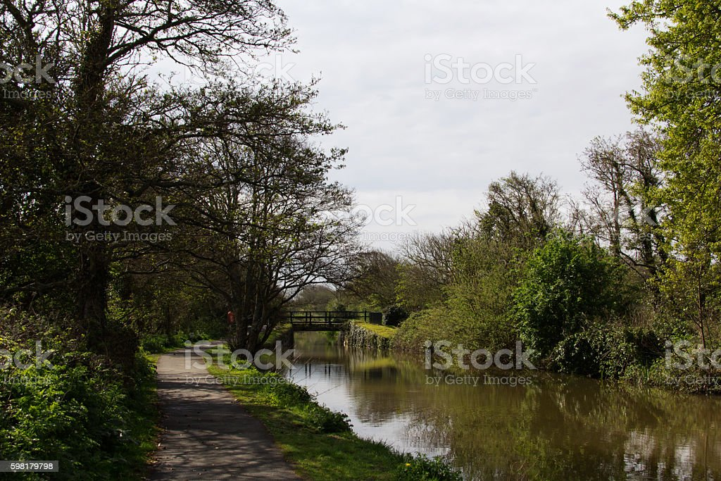 View along the canal path at Bude, Cornwall stock photo