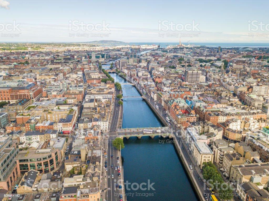 View along the River Liffey, Dublin, Ireland. stock photo