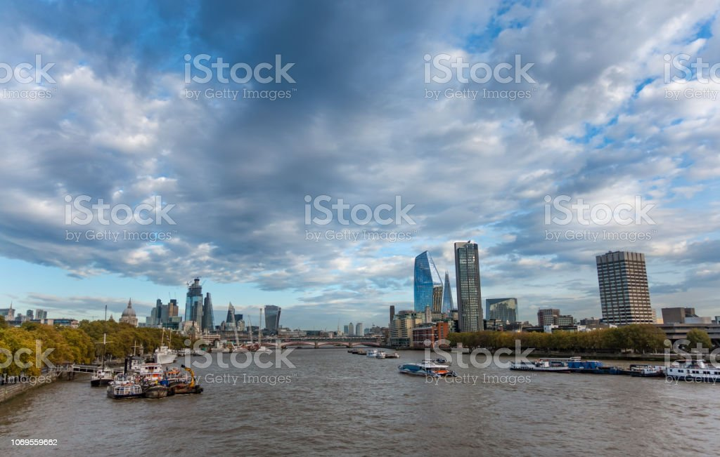 View Along The River Thames From Waterloo Bridge Towards The