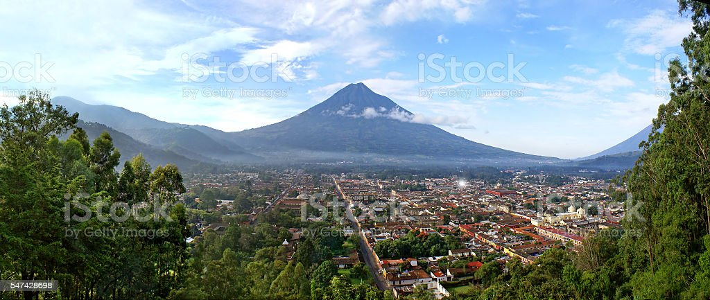 View Antigua Guatemala and the volcano stock photo
