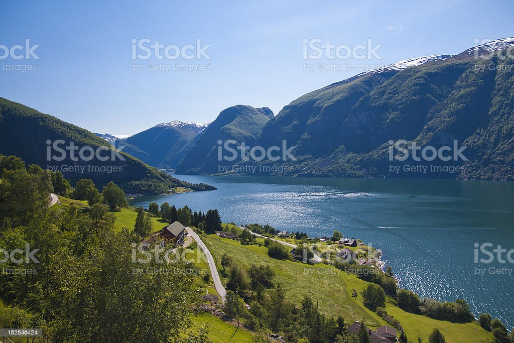 View at Aurland, Norway stock photo