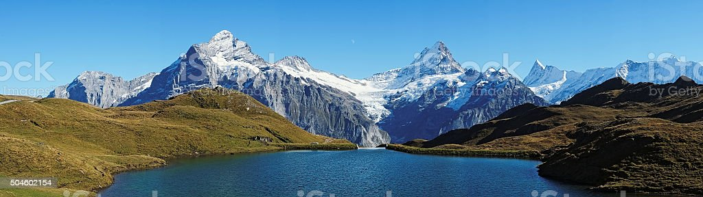View at Bachalpsee during hike from First towards Grindelwald (Switzerland) stock photo