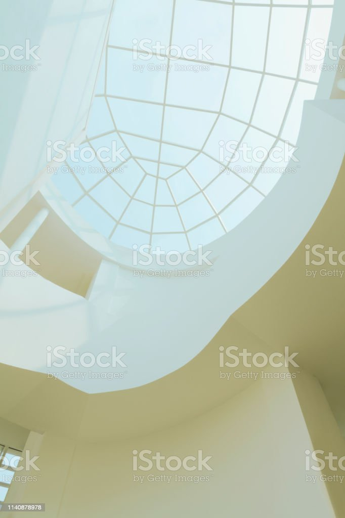 Low angle view high above in design interior modern contemporary...