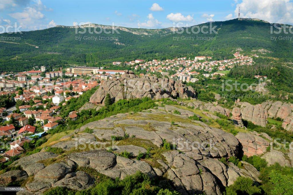 View at Belogradchik town from Belogradchik Rocks stock photo
