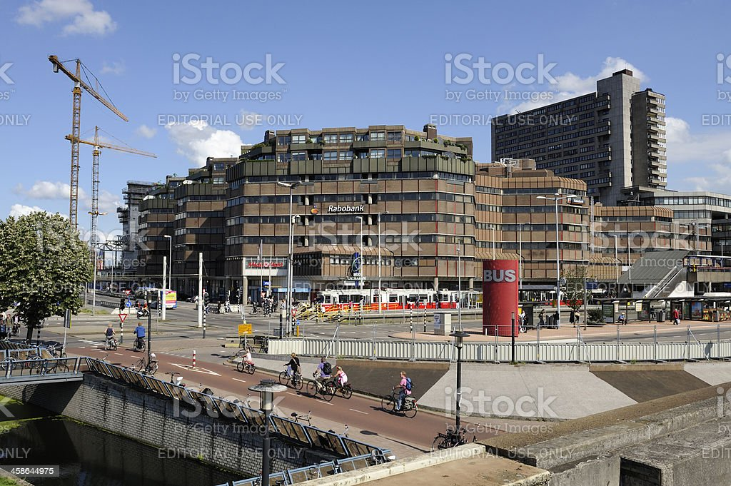 View at bus station and Hoog Catharijne in Utrecht royalty-free stock photo