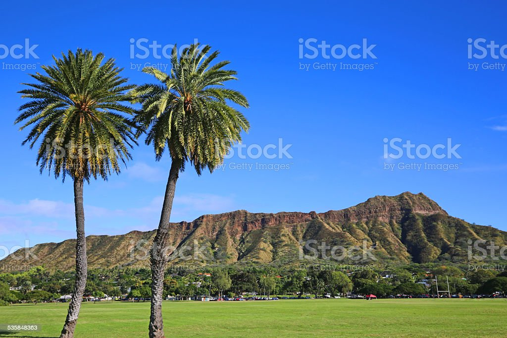 View at Diamond Head Crater from football field stock photo