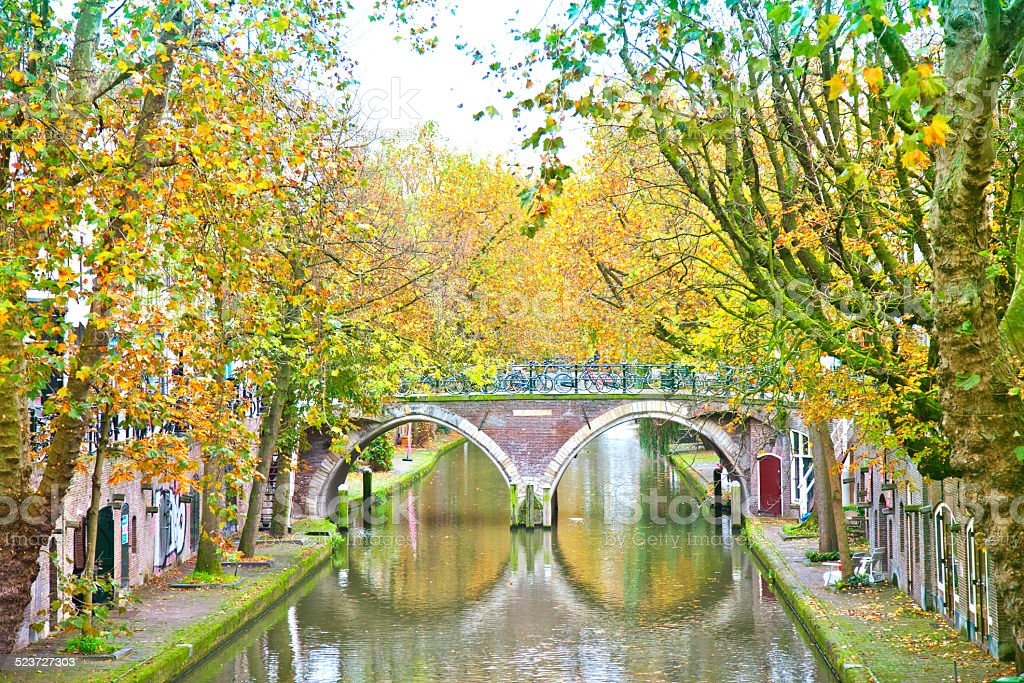 View at historical canal in Utrecht, The Netherlands stock photo