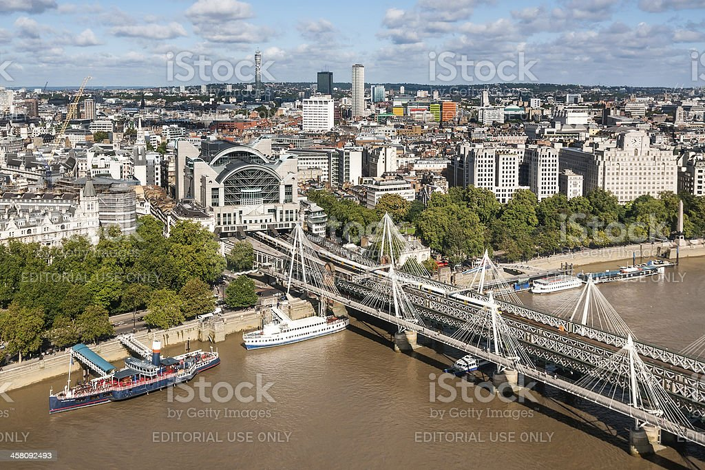 View at Hungerford bridge from London Eye royalty-free stock photo