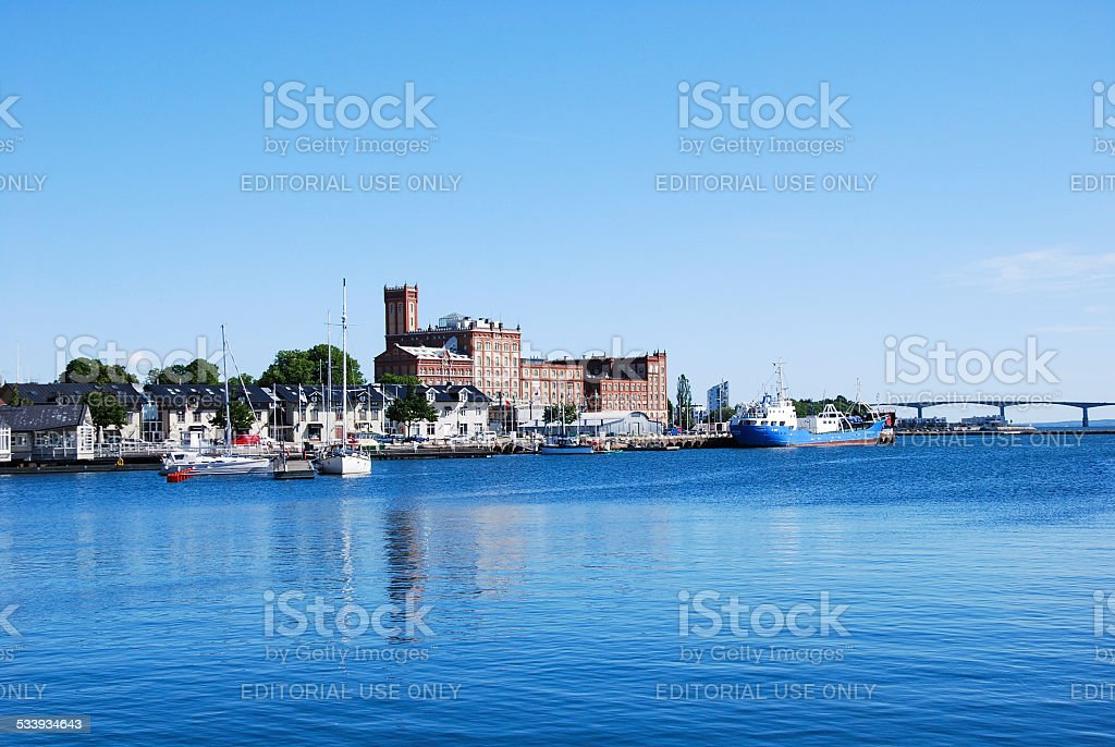View at Kalmar harbour stock photo
