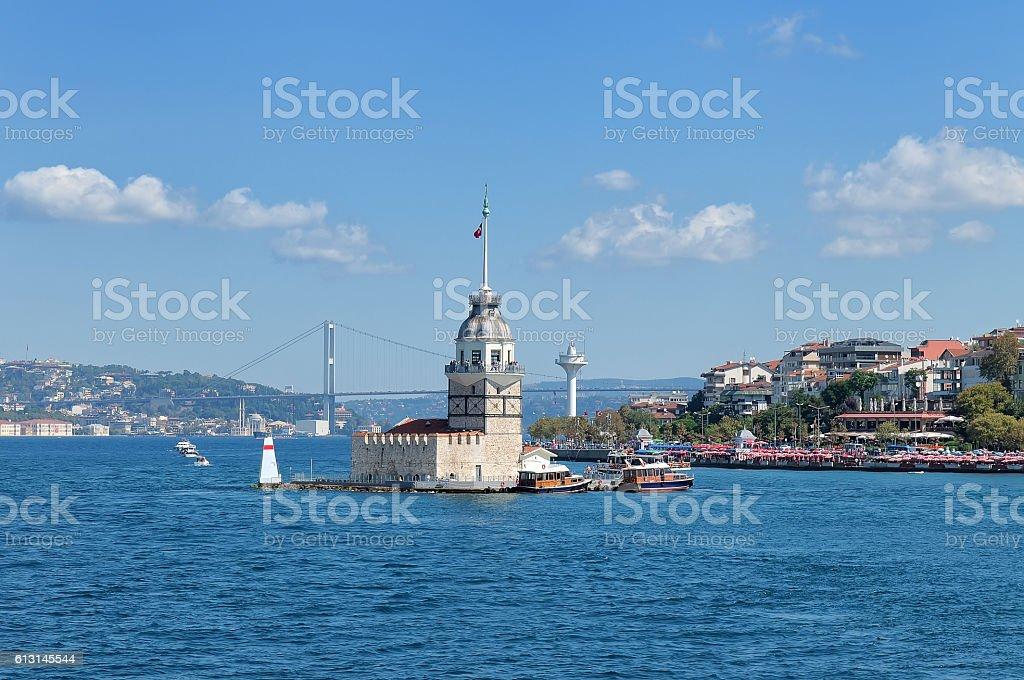View at Maiden tower and Bosphorus bridge stock photo