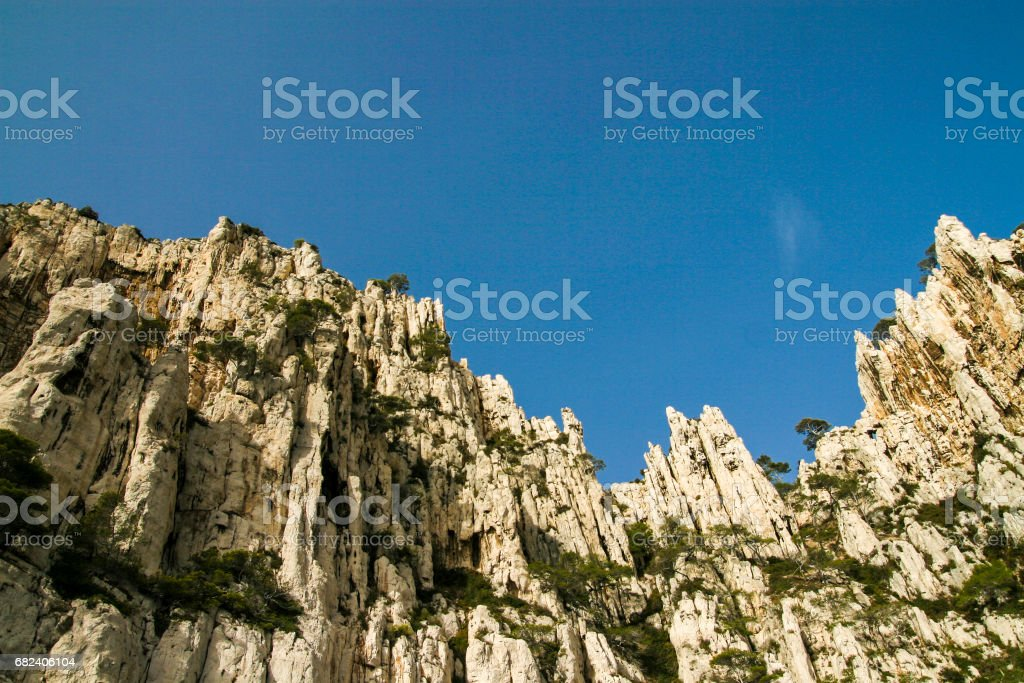 A view at Marseille's majestic Calanques, a limestone rock formation over the Mediterranean sea. royalty-free stock photo
