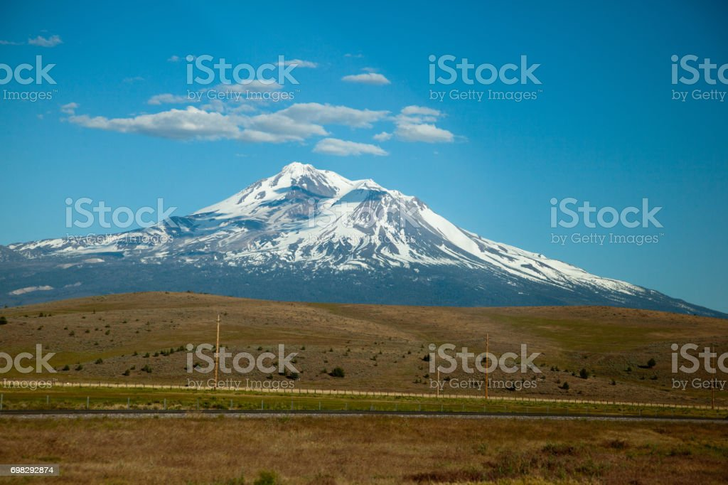 View at Mount Shasta from I-5 in late Spring stock photo