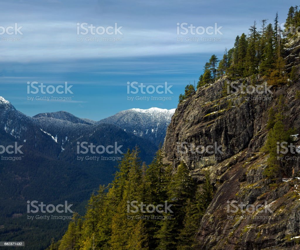 View at  mountain panorama from sky-ride to Grouse Mountain royalty-free stock photo