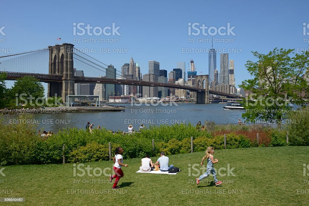 View at New York skyline from Brooklyn Bridge Park stock photo